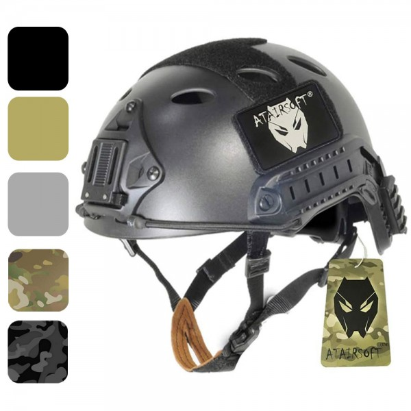 ATAIRSOFT PJ Type Adjustable Tactical Fast Helmet w/Side Rails and NVG Mount