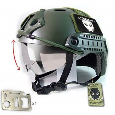 ATAIRSOFT PJ Type Tactical Multifunctional Fast Helmet with Visor Goggles Low Price Version OD Green + 1 x Multifunction Card