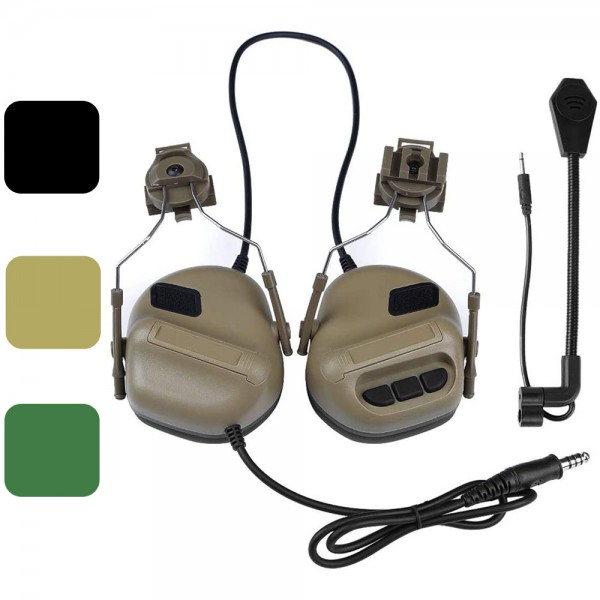 ATAIRSOFT Tactical Headset Unlimited Power intercom with Microphone Waterproof Headphones, no Noise Reduction Function