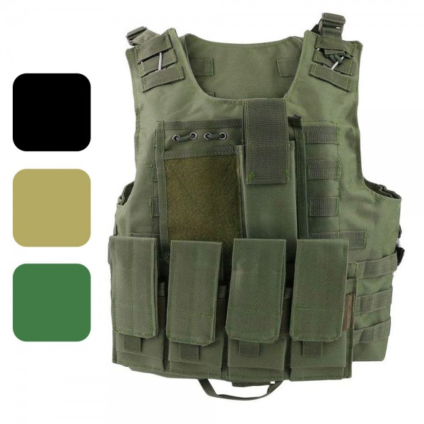 ATAIRSOFT Tactical Molle Combat Assault Vest with 7 Modular Pouches