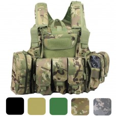 ATAIRSOFT Tactical Military Molle Adjustable Combat Vest Plate Carrier with Mag Pouch