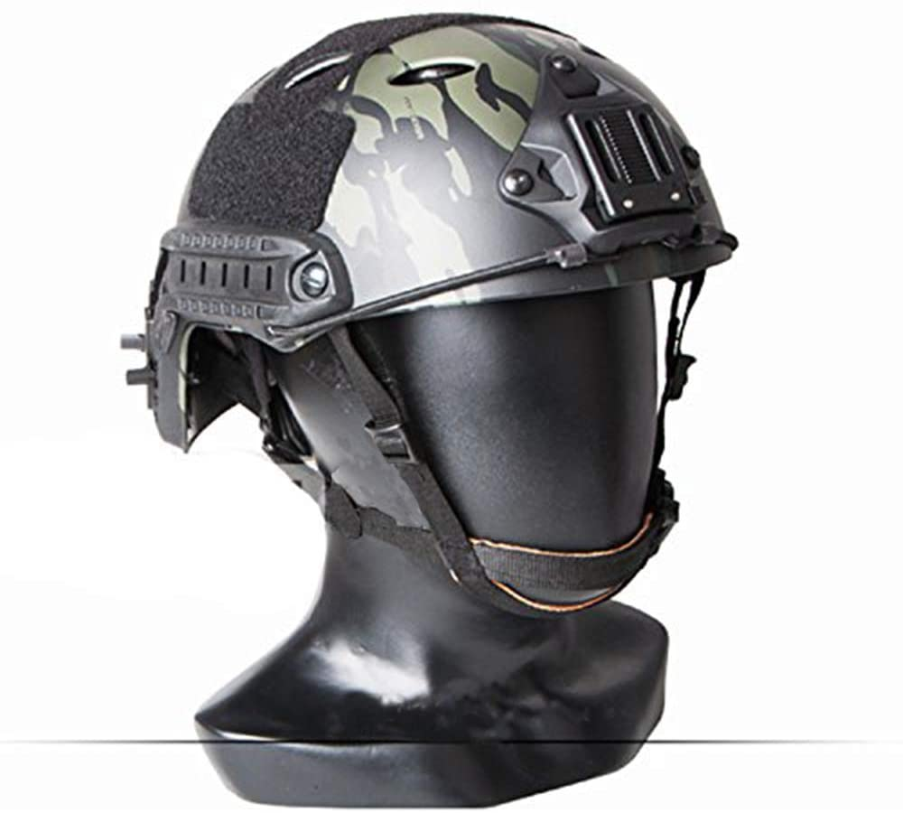 ATAIRSOFT PJ Type Adjustable Tactical Fast Helmet w//Side Rails and NVG Mount MCBK